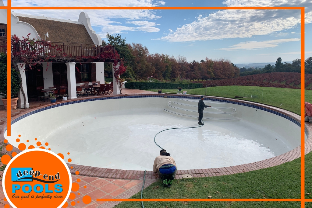 Deep-End Pools then removed the fiberglass then Pre-Coated the pool and marble plastered the pool in white.